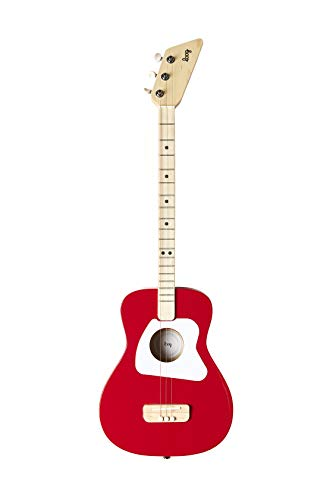 Loog 3 String Pro Acoustic Guitar and Accompanying App for Children, Teens and Beginners – Red
