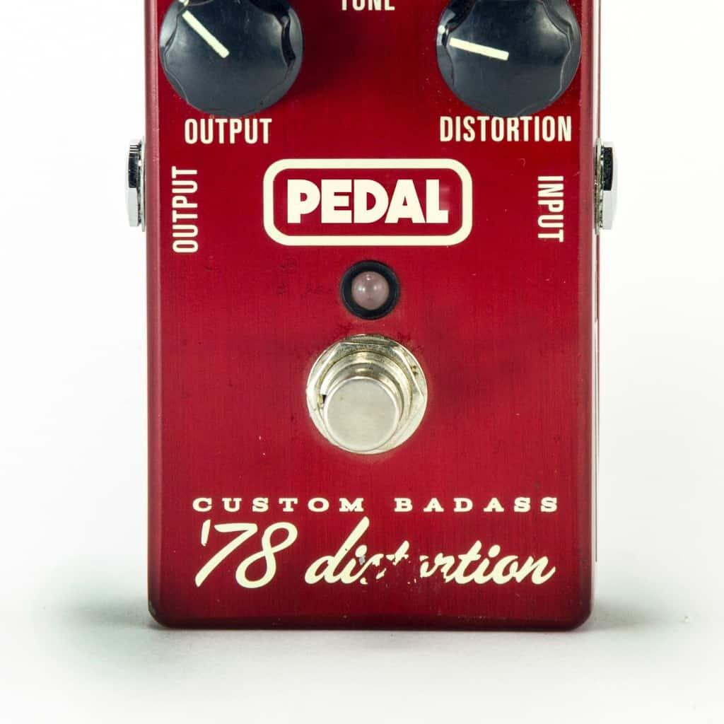 Close up shot of a custom distortion pedal