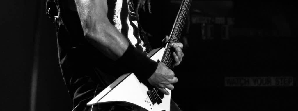 Heavy Metal Flying V Guitar Onstage