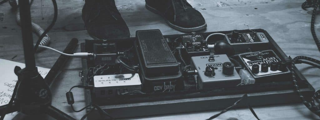 Looper and other pedals on a pedal board